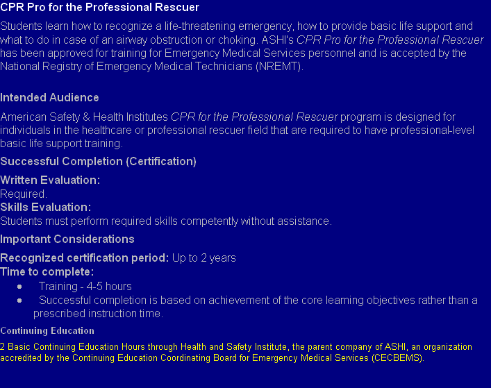 Cpr Pro For The Professional Rescuer